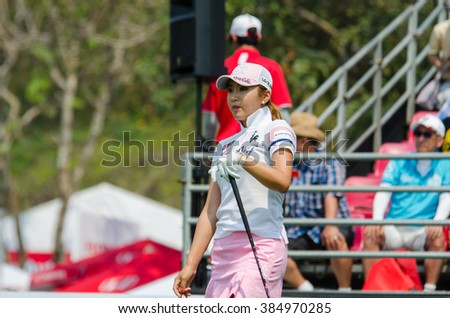 CHONBURI - FEBRUARY 27: Bo-Mee Lee of South Korea in Honda LPGA Thailand 2016 at Siam Country Club, Pattaya Old Course on February 27, 2016 in Chonburi, Thailand. - stock photo