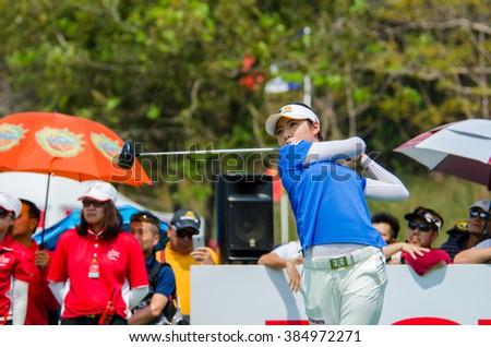 CHONBURI - FEBRUARY 28 : Mi Hyang Lee of South Korea in Honda LPGA Thailand 2016 at Siam Country Club, Pattaya Old Course on February 28, 2016 in Chonburi, Thailand. - stock photo