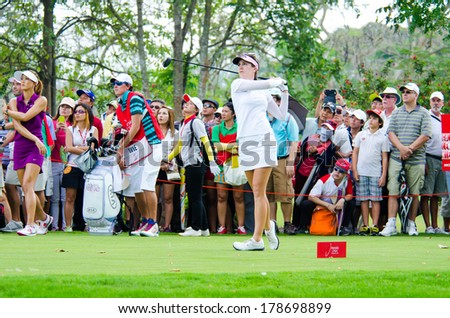 CHONBURI - FEBRUARY 22: Sandra Gal golfer from Germany in Honda LPGA Thailand 2014 at Siam Country Club, Pattaya Old Course on February 22, 2014 in Chonburi, Thailand.