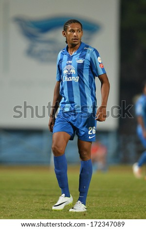 CHONBURI -JANUARY16:Anderson Dos Santos player of Chonburi FC in action during Chang Chonburi Invitation 2014 between Chonburi FC and Police United at Chonburi Stadium on January 16, 2014 in Chonburi