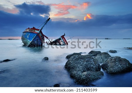 CHONBURI- JUNE 20 : Shipwreck on June 20, 2014 in Ang Sila, Chonburi, Thailand.  - stock photo