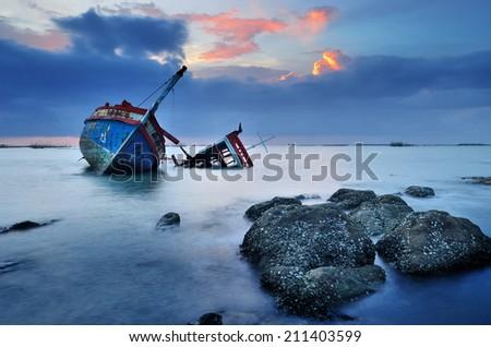CHONBURI- JUNE 20 : Shipwreck on June 20, 2014 in Ang Sila, Chonburi, Thailand.  - stock photo