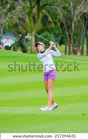 CHONBURI - MARCH 1:  Sandra Gal of Germany in Honda LPGA Thailand 2015 at Siam Country Club, Pattaya Old Course on March 1, 2015 in Chonburi, Thailand.