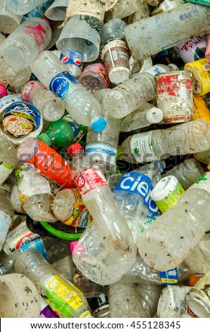 CHONBURI PROVINCE, THAILAND-JULY 11: Picture blurred of plastic bottles waste from household.  Recycle center at Chonburi Province on JULY 11 , 2016 in CHONBURI PROVINCE THAILAND