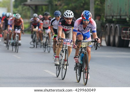 CHONBURI, THAILAND - APRIL 6: unidentified men race road cycling on april 6,2015 in pattaya, chonburi, thailand
