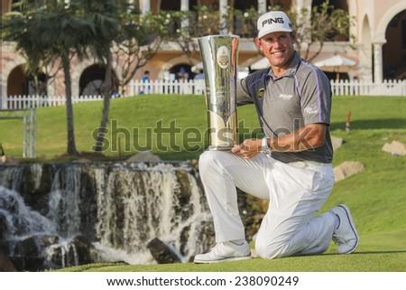 Chonburi, Thailand, December 14 : England's Lee Westwood The Winner in Thailand Golf Championship 2014, at  Amata Spring Country Club,Chonburi Thailand. - stock photo