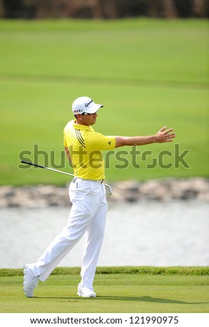 CHONBURI,THAILAND-DECEMBER 6:Sergio Garcia of Spain  in action during hloe 2 day one of the Thailand Golf Championship at Amata Spring Country Club on Dec 6,2012 in Chonburi,Thailand.