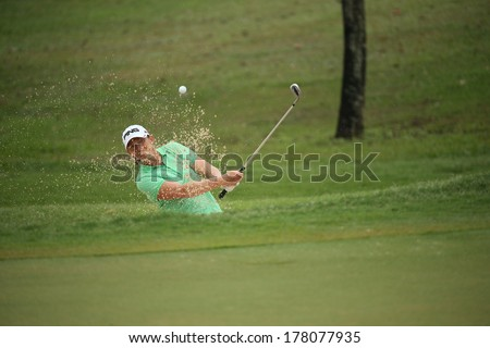 Chonburi, Thailand - FEB 21:Angela Stanford of USA participate in a Honda LPGA Thailand 2014 at Siam Country Club Pattaya Old Course on February 21, 2014 in Chonburi, Thailand.