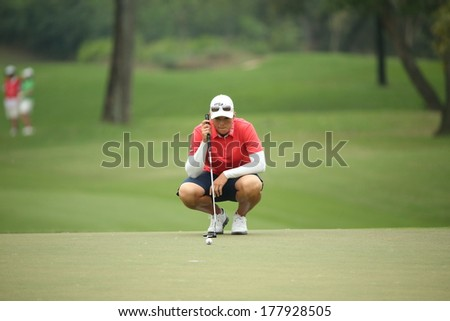 Chonburi, Thailand - FEB 20:Katherine Kirk of Australia in action during Honda LPGA Thailand 2014 at Siam Country Club Pattaya Old Course on February 20, 2014 in Chonburi, Thailand.