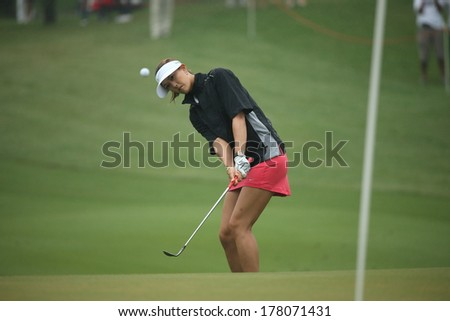 Chonburi, Thailand - FEB 21:Michelle Wie of USA participate in a Honda LPGA Thailand 2014 at Siam Country Club Pattaya Old Course on February 21, 2014 in Chonburi, Thailand.