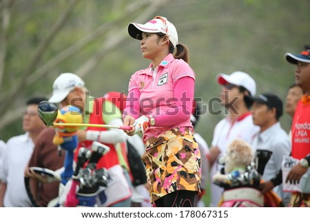 Chonburi, Thailand - FEB 21:Pornanong Phatlum of Thailand participate in a Honda LPGA Thailand 2014 at Siam Country Club Pattaya Old Course on February 21, 2014 in Chonburi, Thailand.