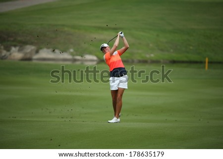 Chonburi, Thailand - FEB 22:Stacy Lewis of USA participate in a Honda LPGA Thailand 2014 at Siam Country Club Pattaya Old Course on February 22, 2014 in Chonburi, Thailand.