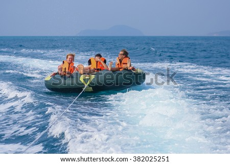Chonburi, Thailand - February 01, 2015 :: Young people on water attractions during summer vacations.