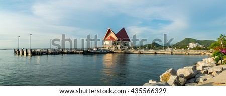 CHONBURI, THAILAND - JUNE 4 : Panorama view of Koh Loy Jetty on 4 June 2016 in Sriracha, Chonburi province, Thailand