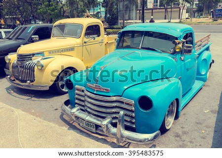 CHONBURI, THAILAND - MARCH 22, 2016 : Front of Blue 1951 Chevrolet Pick-up on the parking , process vintage color.