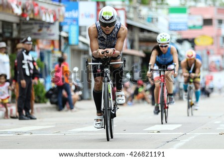 Chonburi, Thailand - May 21, 2016: Pattaya Triathlon Super Series 2016 event at Pattaya beach in Chonburi.