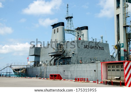 CHONBURI, THAILAND - MAY 28: The FAST FRIGATE ,FF battle ship was shown for Thai people and tourist to visit at Sattahip Naval Base on May 28,2013 in Chonburi, Thailand