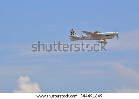 CHONBURI - THAILAND Nov, 20 : Stanislas Damilon in his plane Choas Teo during the Air Race 1 Championship Thailand in November 20, 2016 at U-Tapao International Airport, Chonburi, Thailand
