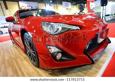 CHONBURI, THAILAND - NOVEMBER 02: The Toyota 86 at 15th Pacific Motor Show Modern Life Drive Smart on November 02, 2012 in Chonburi, Thailand.