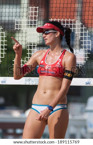 CHONBURI, THAILAND-OCTOBER 26: Joana Heidrich of Switzerland reacts after winning a point during Day 2 of Bangsaen Thailand Open on October 26, 2012 at Bangsaen Beach in Chonburi, Thailand - stock photo