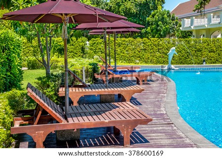 CHONBURI, THAILAND - 26 SEP 2015 : Beautiful swimming pool in tropical resort in Bangsaen, Chonburi, Thailand.