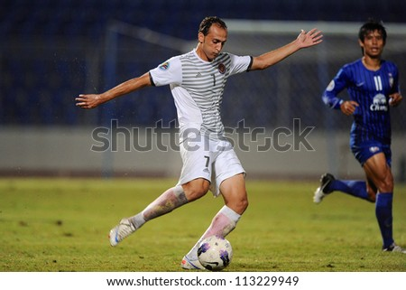 CHONBURI,THAILAND-SEPTEMBER18:Taha Dyab (no.7) of Al Shorta (SYR) in action during the AFC CUP quarter finals between Chonburi fc.and Al Shorta (SYR) at Chonburi Stadium on Sep18,2012 in Thailand - stock photo