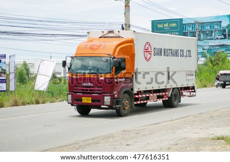 Chonburi Thailand , September 03 - 2016 : Truck on 331 road with container contain material and product supply to customer in Thailand.