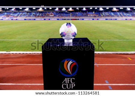 CHONBURI,THAILAND-SEPTEMBER18:Unidentifie  of Chonburi fc.supporters during the AFC CUP quarter finals between Chonburi fc.and Al Shorta(SYR) at Chonburi Stadium on Sep18,2012 in Thailand - stock photo