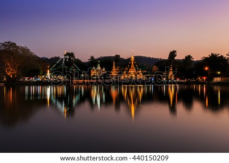 Chong Kham temple in Mae Hong Son in twilight, Thailand - stock photo