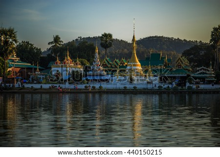 Chong Kham temple in Mae Hong Son, Thailand - stock photo