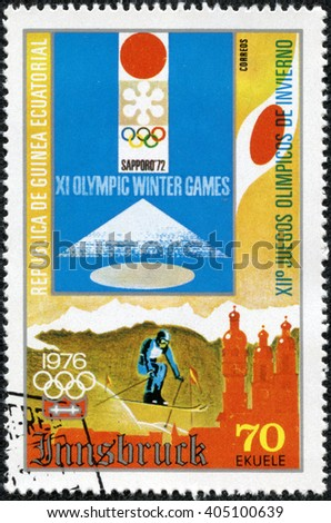 CHONGQING, CHINA - April 22, 2014: A stamp printed in Equatorial Guinea, shows Winter Olympics, circa 1976 - stock photo