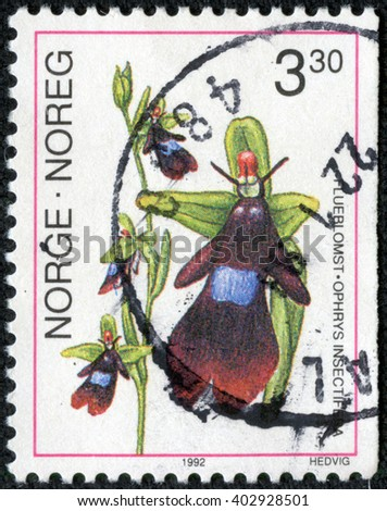 CHONGQING, CHINA - April 17, 2014:a stamp printed in the Norway shows Fly Orchid, Ophrys Insectifera, European Orchid, circa 1992 - stock photo