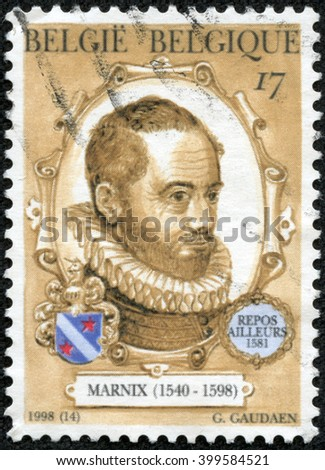 CHONGQING, CHINA - April 13, 2014?stamp printed by Belgium, shows Philips van Marnix van Sint Aldegonde, Author, circa 1998 - stock photo