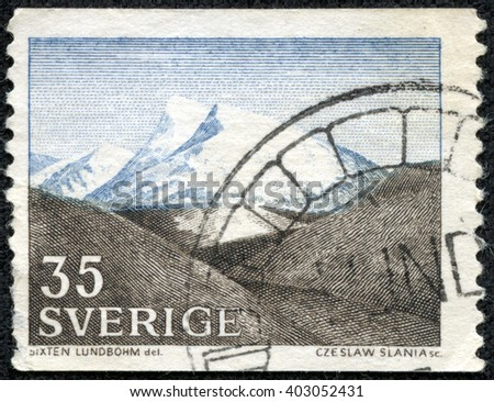 CHONGQING, CHINA - April 15, 2014:stamp printed by Sweden, shows The Fjeld by Sixten Lundbohm, circa 1967 - stock photo