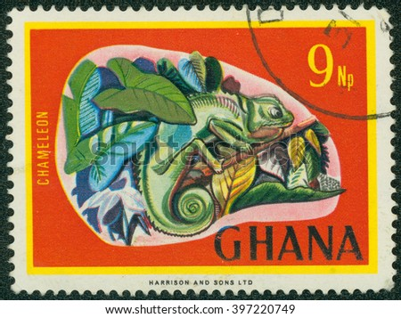 CHONGQING, CHINA - January 17, 2015:a stamp printed in Ghana shows Chamaeleo sp., National Symbols, circa 1967. - stock photo