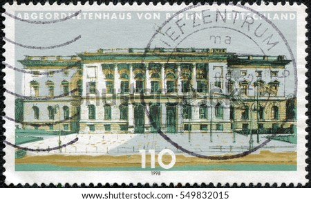 CHONGQING, CHINA - May 11, 2014:A stamp printed by Germany, shows Berlin, Europe, circa 1998