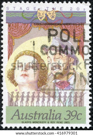 CHONGQING, CHINA - May 9, 2014:A stamp printed in Australia shows Star of Stage and Screen, Gladys Mongrieff and Roy Rene, circa 1989 - stock photo