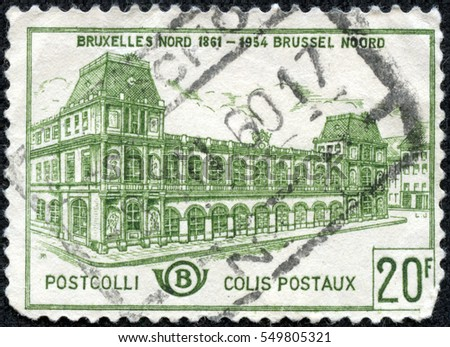CHONGQING, CHINA - May 11, 2014:stamp printed by Belgium, shows Old North Station Brussels, circa 1959