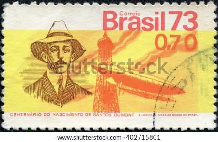 CHONGQING, CHINA - May 12, 2014:stamp printed by Brazil, shows Santos Dumont balloon and Eiffel Tower, circa 1973 - stock photo