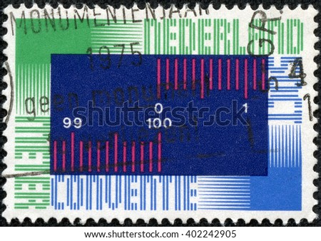 CHONGQING, CHINA - May 13, 2014:stamp printed by Netherlands, shows Metric System, circa 1975 - stock photo