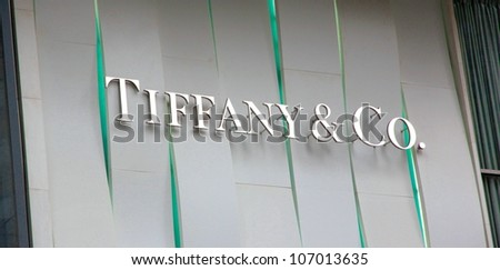 CHONGQING - MARCH 25: A Tiffany & Co. store sign on March 25, 2012 in Chongqing. As of January 31, 2007, the Company operated 64 Tiffany & Co. stores in the US and 103 others abroad. - stock photo