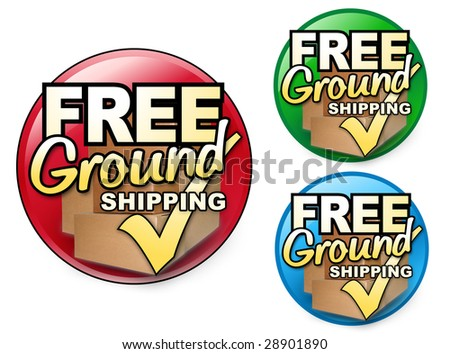 Choose from three different colored FREE Ground Shipping Icons. There are shipping boxes behind the text and a check mark. Perfect for any business. - stock photo