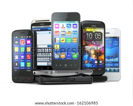 Choose mobile phone. Pile of new cellphones. 3d - stock photo