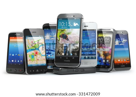 Choose mobile phone. Row of the different smartphones. 3d - stock photo