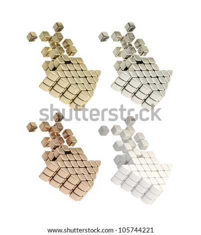 Choose the download speed metaphor as gold, silver, bronze, plastic cube arrows isolated on white - stock photo
