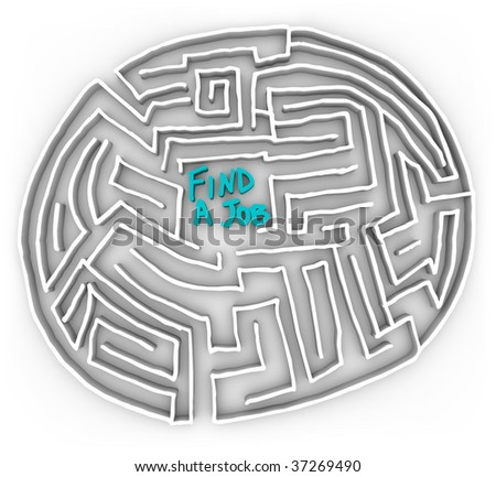 Choose the right path in the difficult maze of finding a job - stock photo