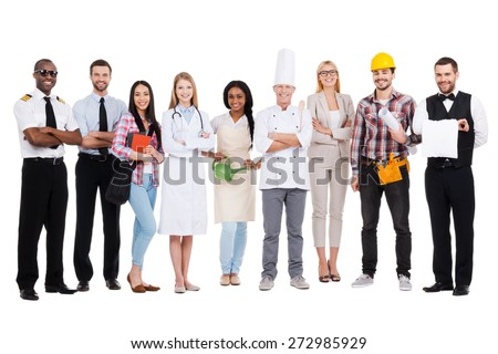 Choose your profession. Group of diverse people in different occupations standing close to each other and against white background and smiling - stock photo