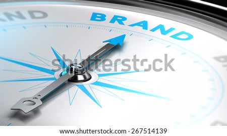 Choosing a brand name concept. 3D image with a compass with needle pointing the word brand. Blue and white tones. - stock photo
