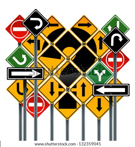 Choosing a strategy or path as a business concept with confusing different yellow red green direction street signs showing dilemma questions looking for solutions for success isolated on white - stock photo