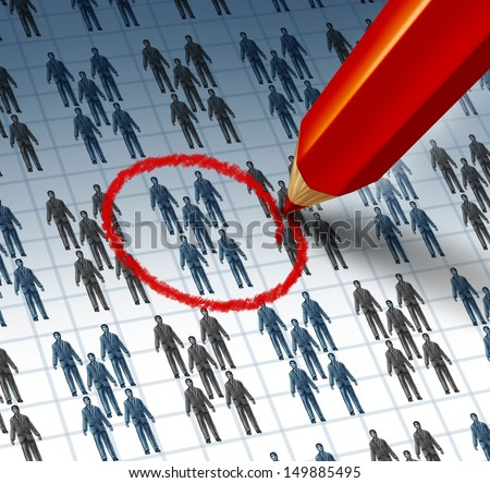 Choosing a team as a red pencil highlighting a drawing of a group of business people as a teamwork symbol of selecting the best social network for internet marketing and communication success. - stock photo